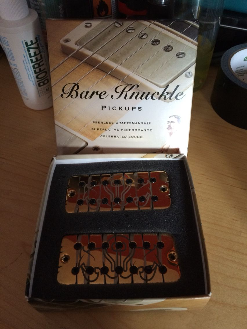 My custom ordered BareKnuckle Juggernaut pickups. Gold Tyger & Black Bolts. - these particular pickups have been wracked up in my Ibanez Iron Label 7.  Demo video - http://youtu.be/8Zb6Z8acimU