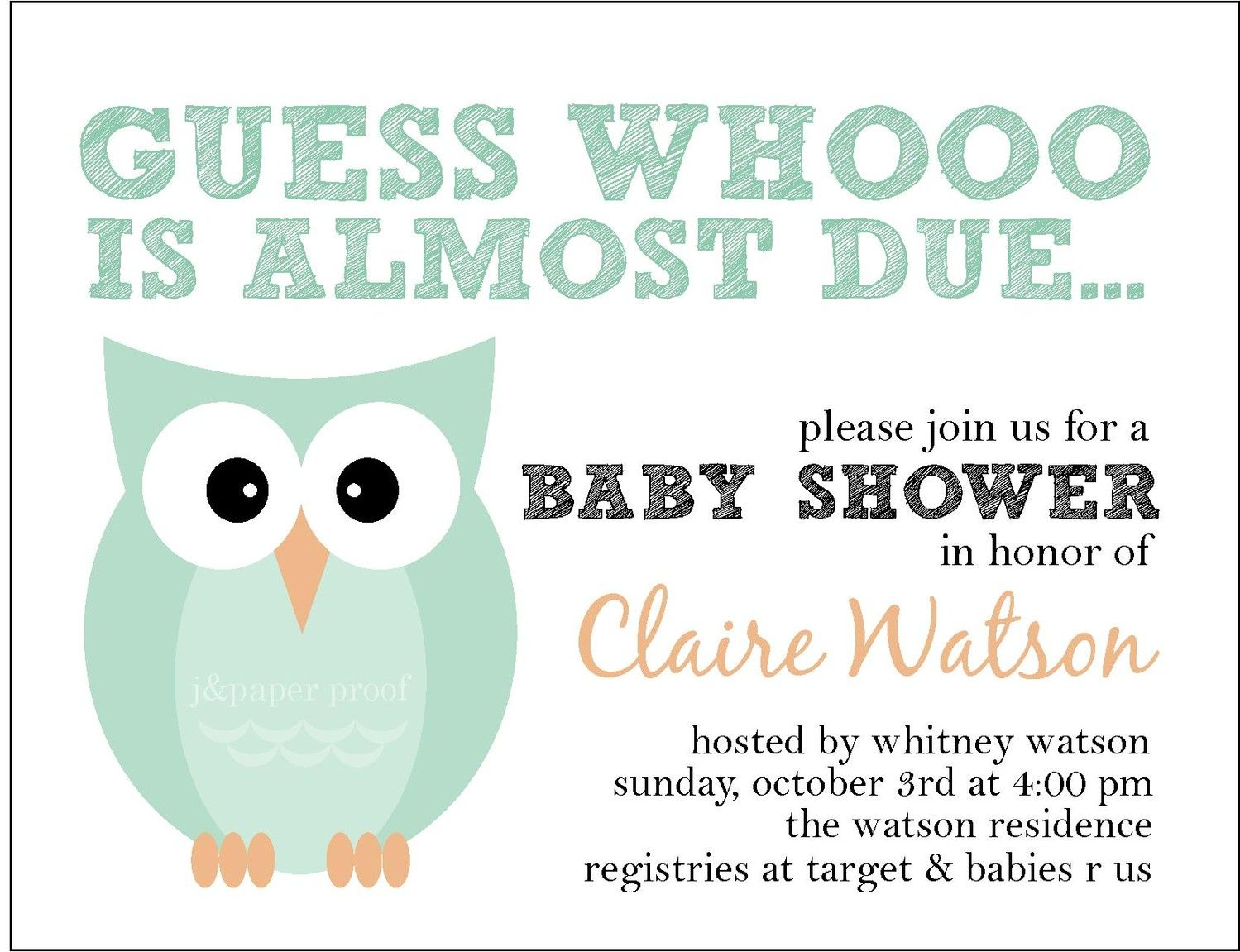 Owl Themed Baby Shower Invitation - Whoo is Due (Set of 16) | Shower ...