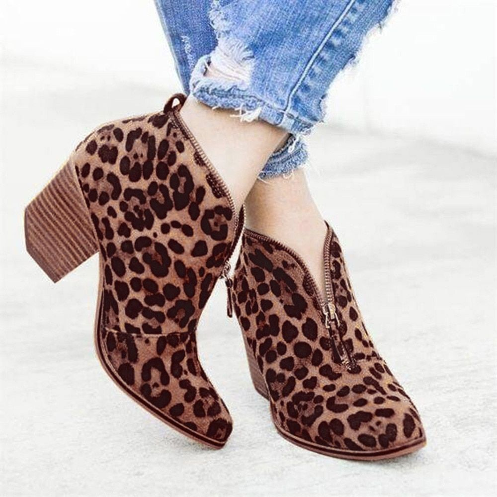 4d24273dc8 YOUYEDIAN Women Boots Leopard print Ankle Boots For Women Rome Style ...