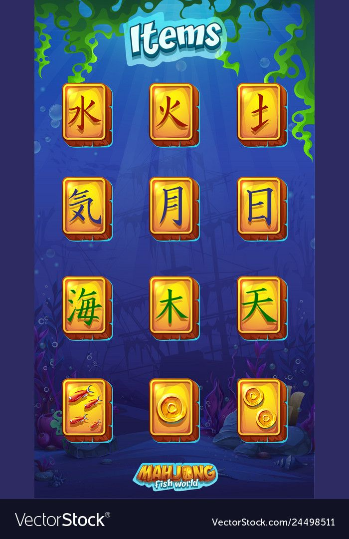 Mahjong item set fire water earth air moon Vector Image