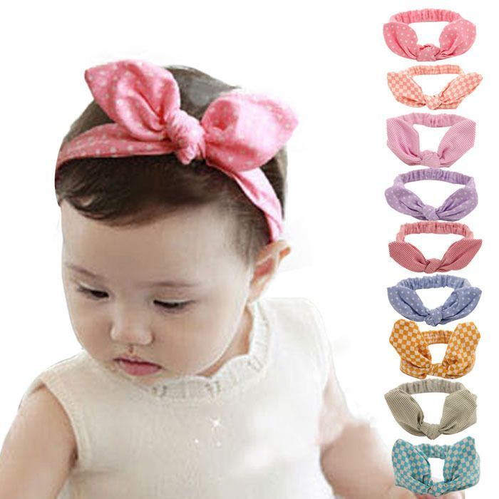 Fashion Girls Kids Baby Rabbit Ears Elastic Flowers Cute Bow knot Headband