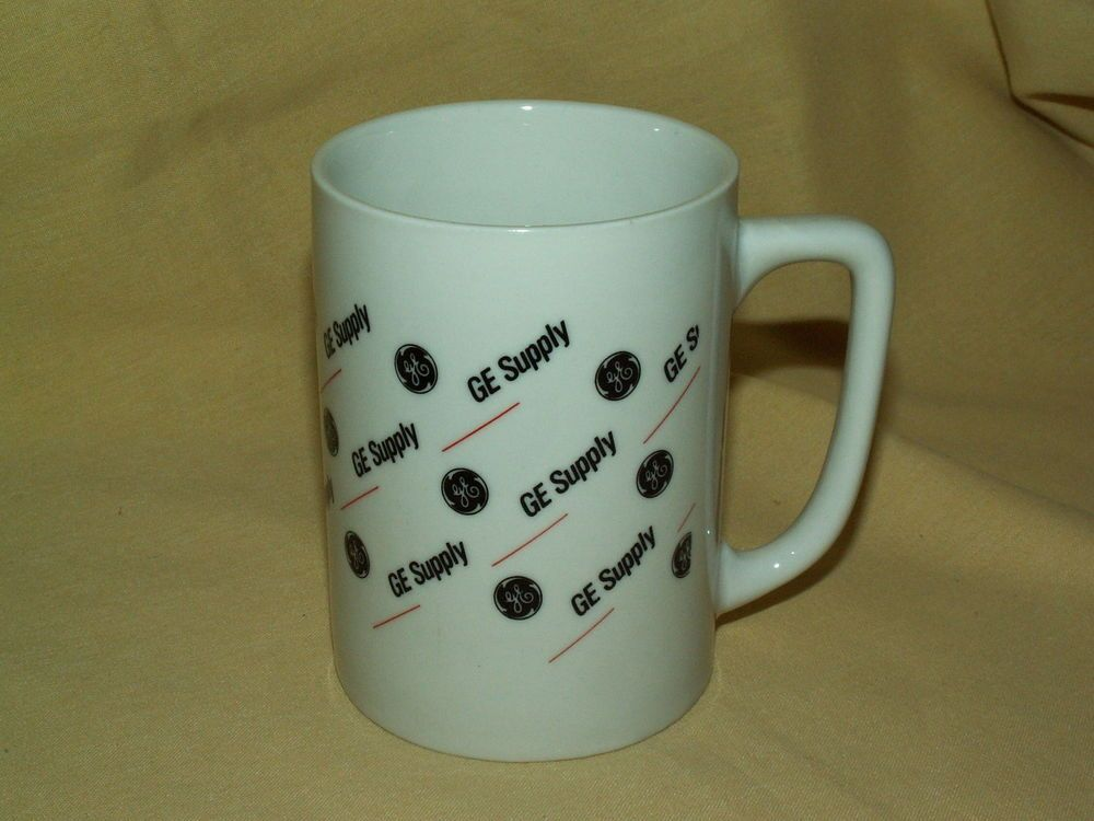 General Electric Mug GE Supply Coffee Tea Cup Logo Black Orange White China Used