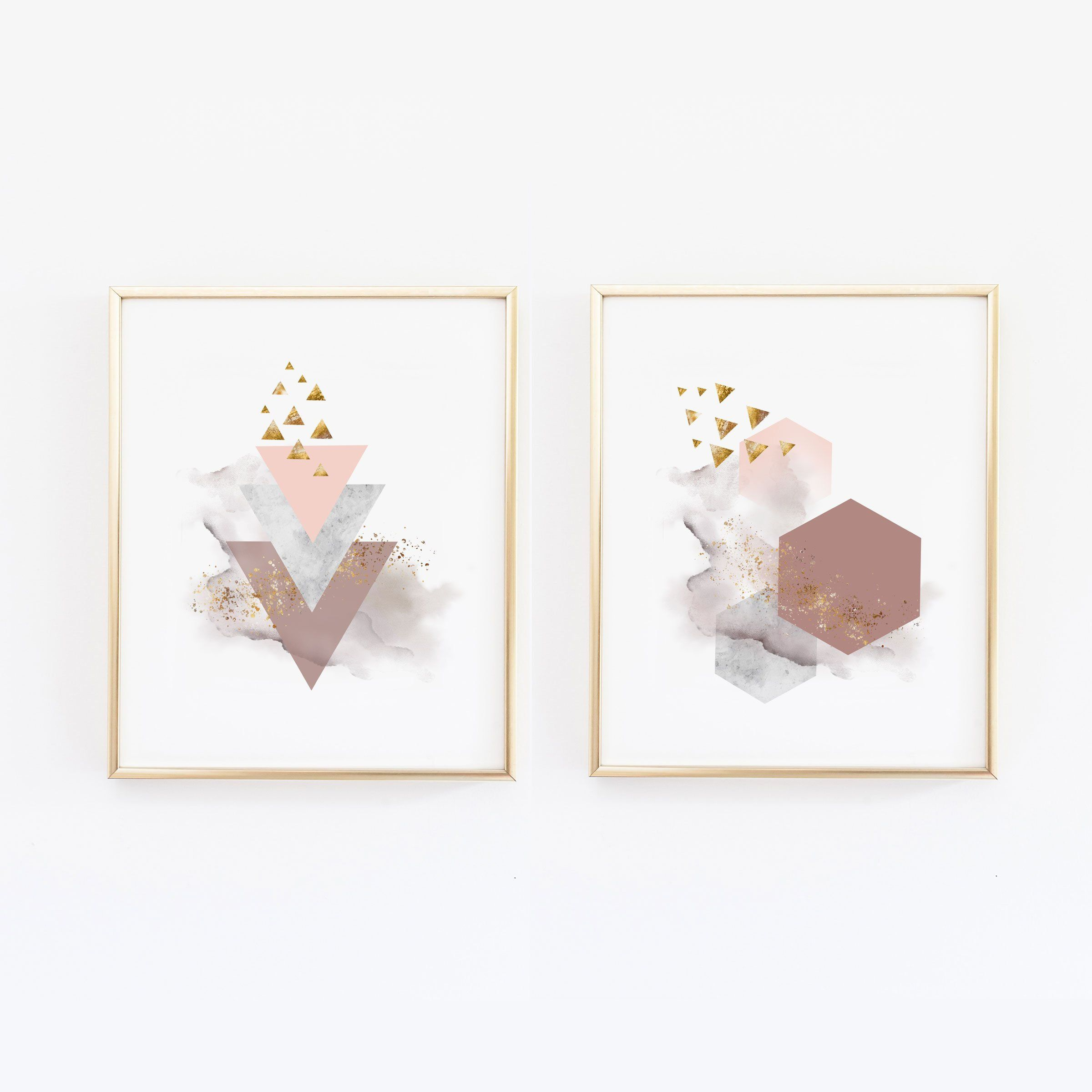 Abstract Shapes Copper Wall Art With Geometric Modern Home Decor Master Bedroom Livingroom Scandinavian Nordic Print Wallandwonder Copper Wall Art Abstract Shapes Wall Art