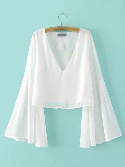 83d5e9c099f White Bell Sleeve V Neck Chiffon Blouse