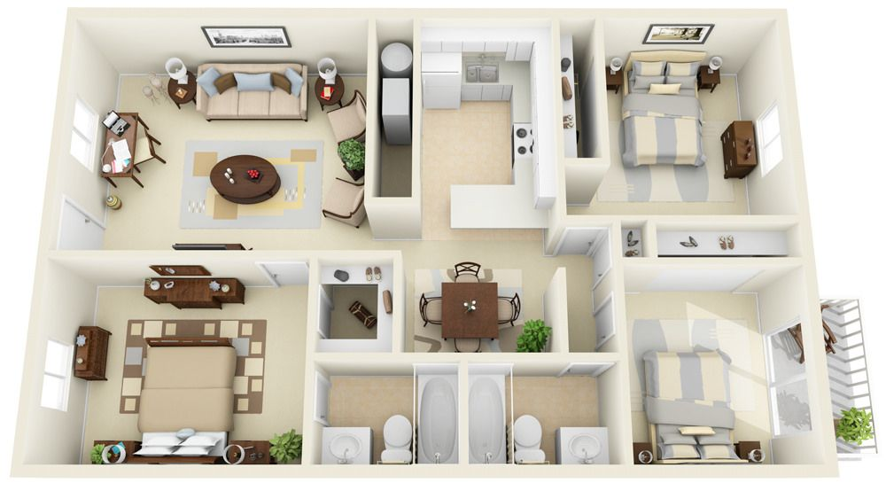 2 2 Split 3d Floor Plan Home Design Plans Small House Design Plans Small House Design