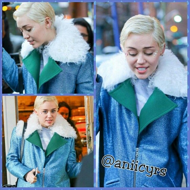 """photos of Miley leaving 'The Butchers Daughter' restaurant in New York today!"""