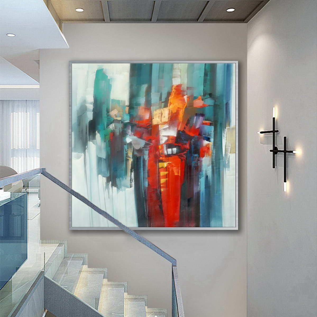 Bright Color Brush Strokes Contemporary Artwork Extra Large Square