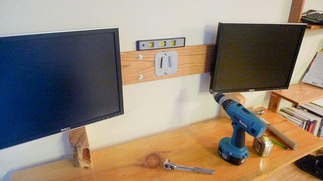 Wall Mount Bracket For Monitors Work Space Floating Desk Man Office