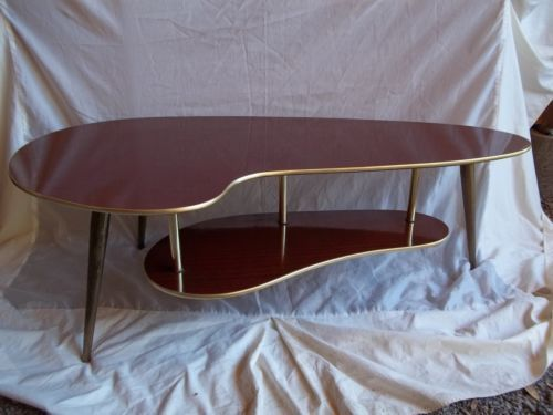Atomic Era Coffee Table Kidney Shaped 2 Tier Vintage Retro 40s 50s