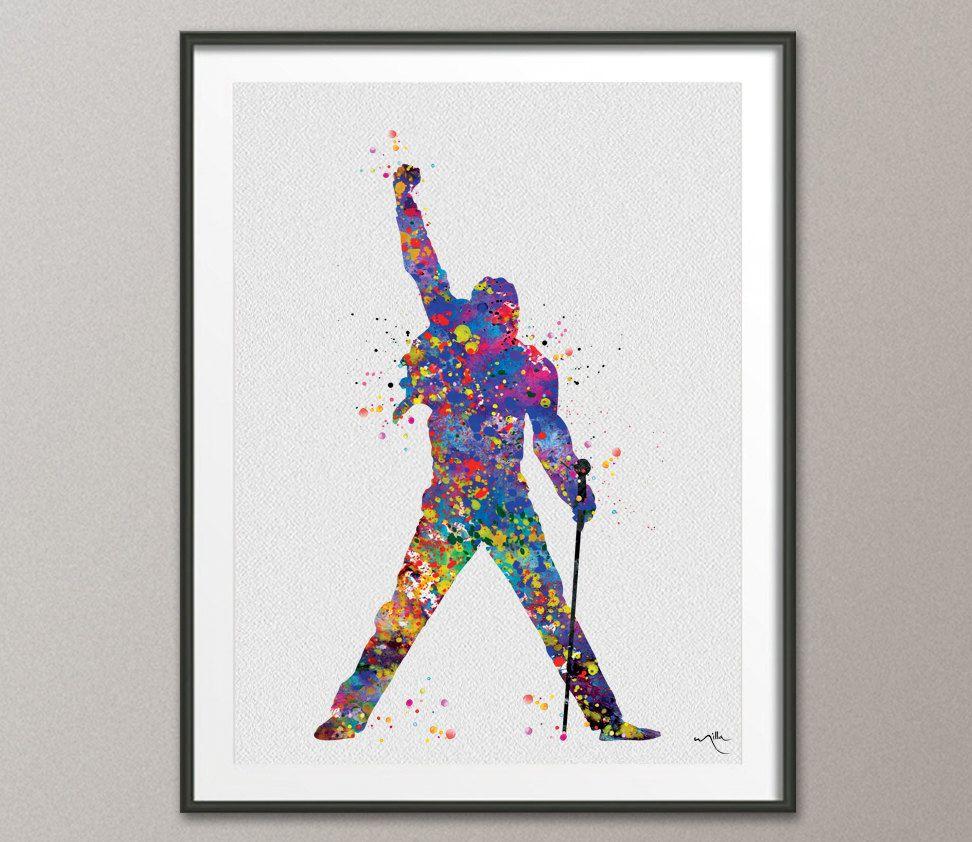 Wall Decor Pop Art : Freddie mercury watercolor print queen s poster bohemian