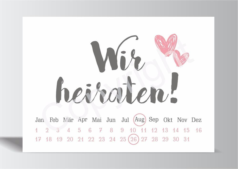 10x save the date karte wir heiraten grau rosa hochzeit. Black Bedroom Furniture Sets. Home Design Ideas