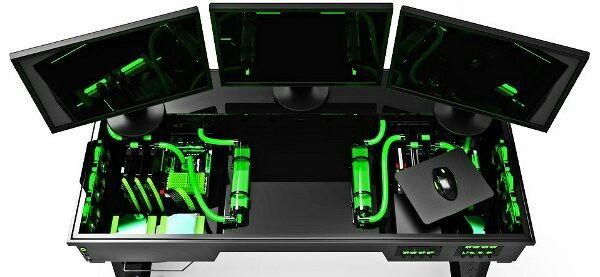 Computer Pc Desk Mod Modification Setup Gaming Computer Rig Inside - Computer desk mod