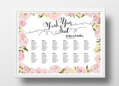 Wedding Seating Chart Poster DIY | Editable PowerPoint Template | Peony floral blush pink