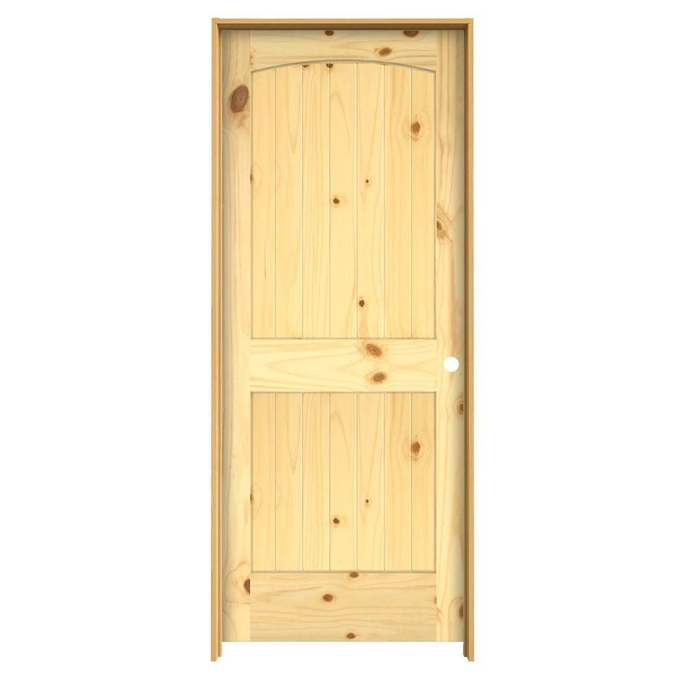 panel archtop  groove solid core knotty pine single prehung interior door  jamb thdjw the home depot also best log cabin doors images in sliding rh pinterest