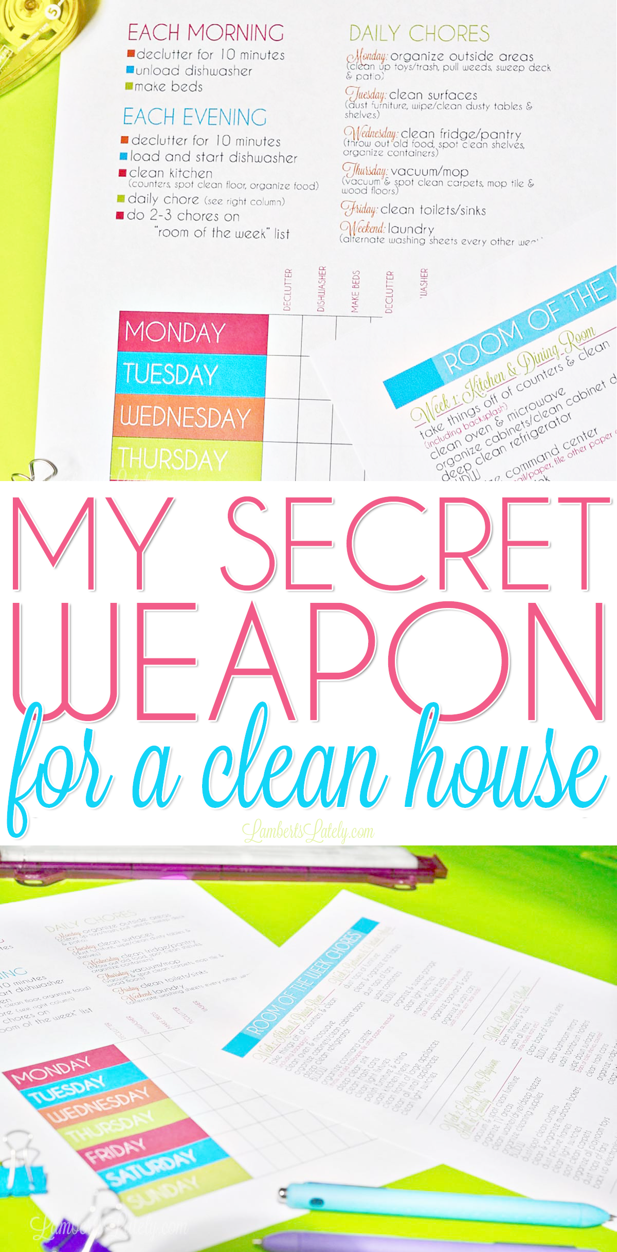 My Secret Weapon For A Clean House Clean House Schedule