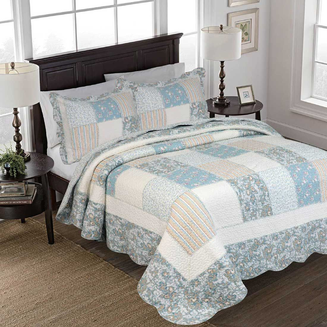 Gennie Blue Ruffle Patchwork Quilt King King Quilt Red And White Quilts Patchwork Quilts