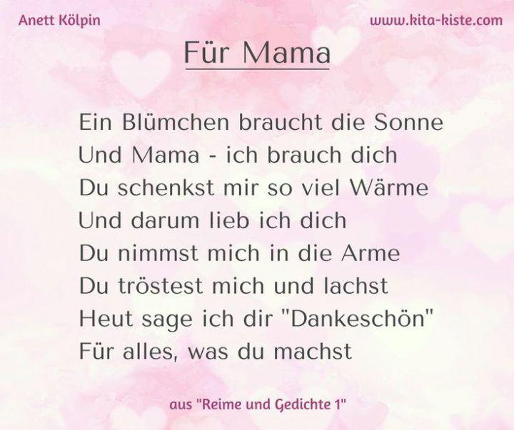 Gedicht Zum Muttertag Fur Kindergarten Und Grundschule Aus