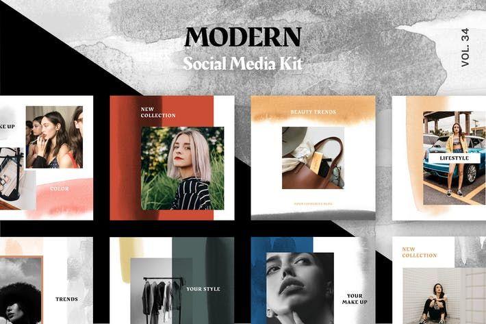 Modern Social Media Kit Vol 34 By Uispot On Media Kit