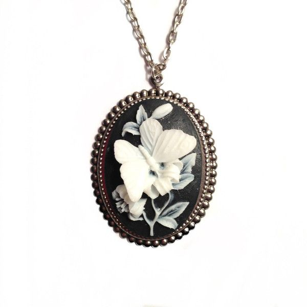 Butterfly cameo necklace antique silver base large resin cameo butterfly cameo necklace antique silver base large resin cameo 40 aloadofball Choice Image