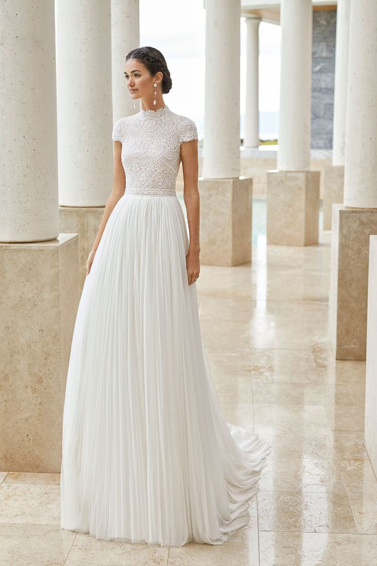 Salina By Rosa Clara Short Sleeve Wedding Dress High Neck Wedding Dress Modest Wedding Dresses