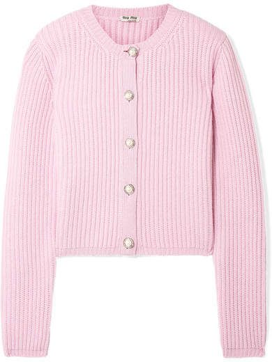 e4b40deac64 Miu Miu - Embellished Ribbed Cashmere Cardigan - Baby pink | Style ...