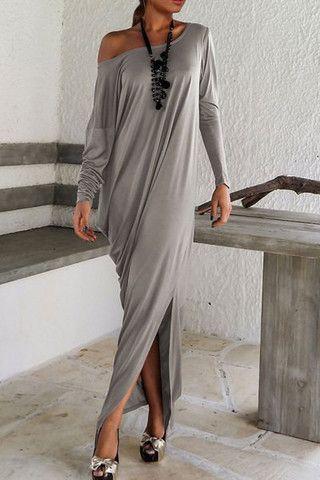 Grey Long Sleeve Off The Shoulder Split Maxi Dress