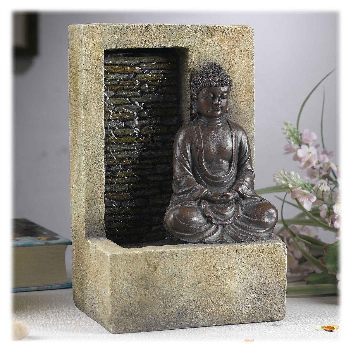 Meditating Buddha In Lotus Position Indoor Waterfall Fountain
