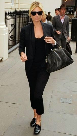 Street Style: Kate Moss Does Black On Black, Black Blazers And Black Patent Loafers