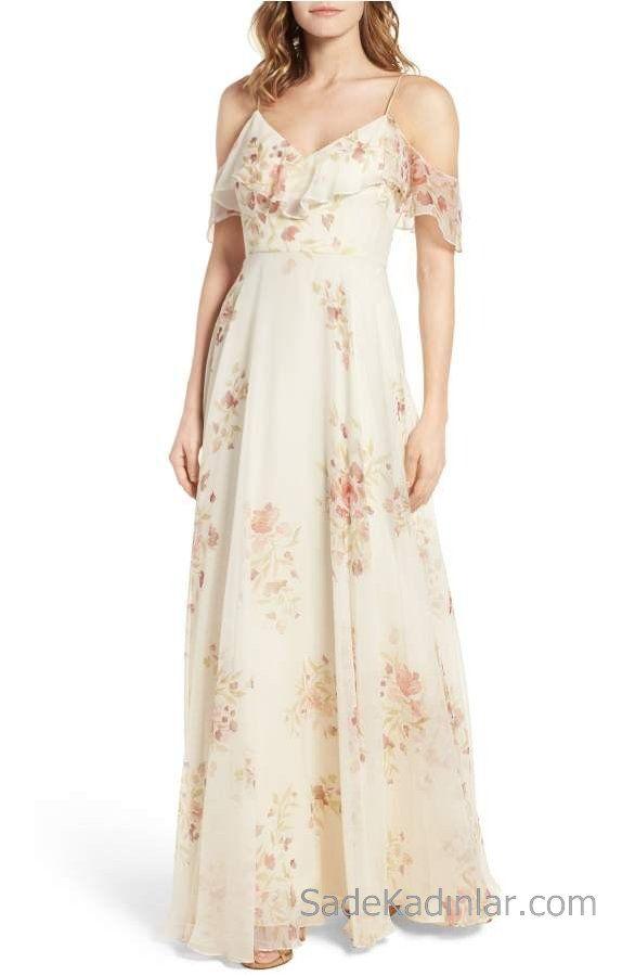 2020 Yazlik Cicekli Sifon Elbise Modelleri Krem Uzun Askili Firfirli Yaka Cicek Desenli Sifon Elbise Maksi Elbiseler The Dress