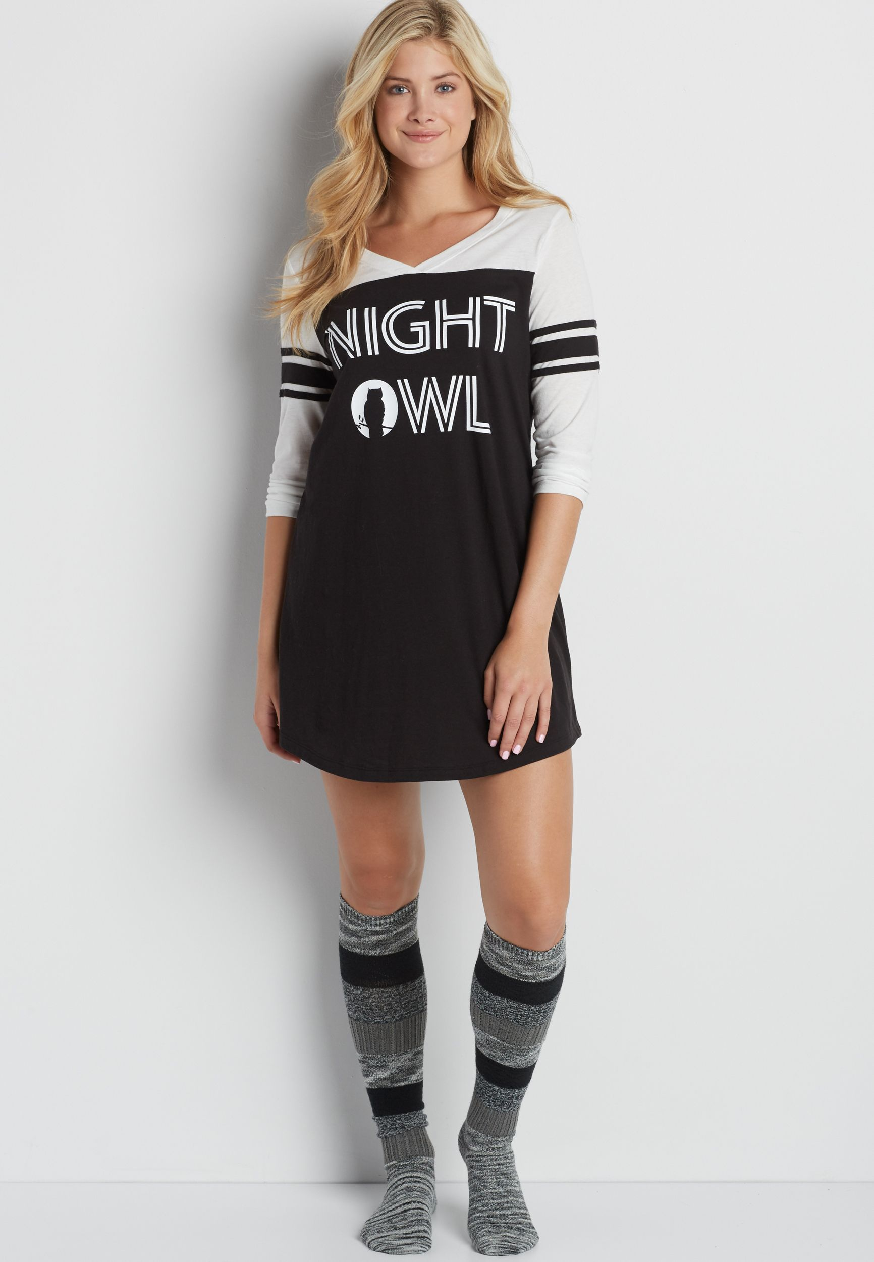 Football Sleep Tunic With Night Owl Graphic In
