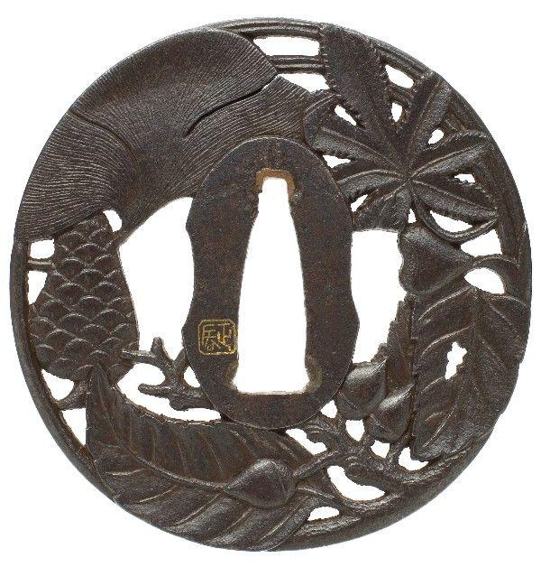 3er Set Tsubas mit ständer für Samuraischwerter