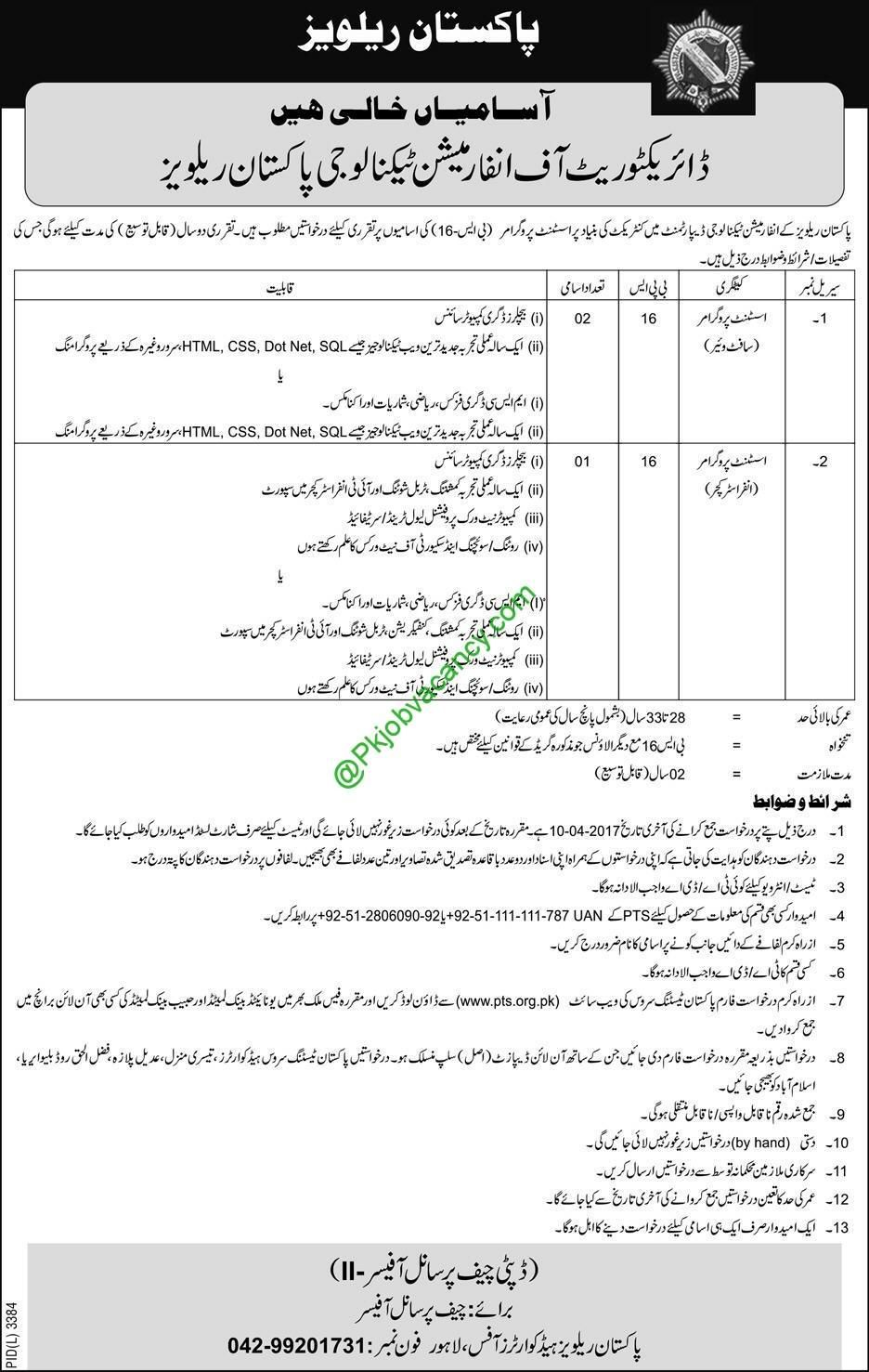 Pakistan Railways Jobs  Available For Directorate Of
