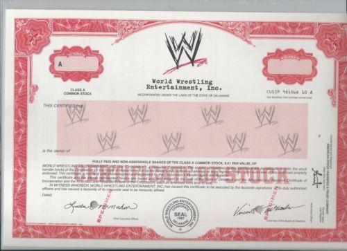 Stock Bond World Wrestling Entertainment Specimen Stock Certificate Wwe Stock Certificates Stock Gifts Paper Frames