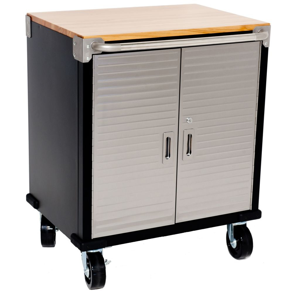 2 Door Timber Top Roll Cabinet Superb Two Door Roll Cabinet With Stainless Steel Door Fronts Steel Construction Storage Garage Storage Workbench With Storage