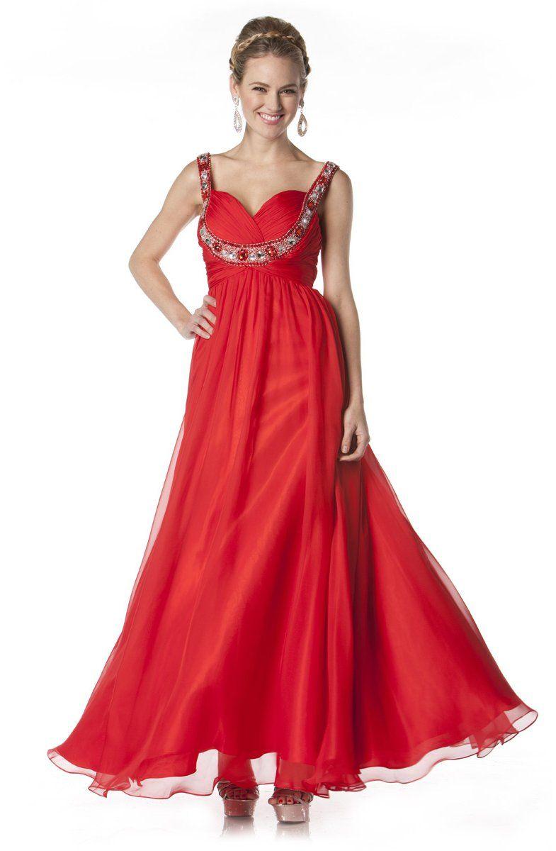 Long red goddess dress wide straps empire waist scoop neck