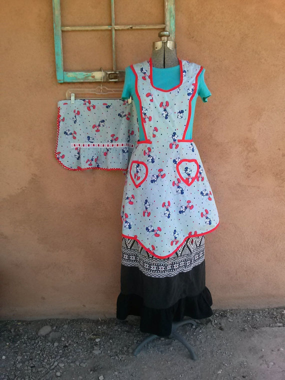 Vintage 1950s Mickey Mouse Apron Mother and Me Set Vintage Disneyana 2014372