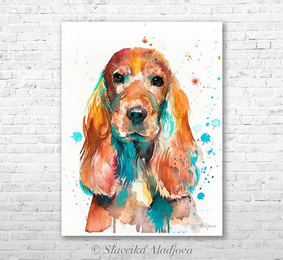 English Cocker Spaniel Watercolor Painting Print By Slaveika