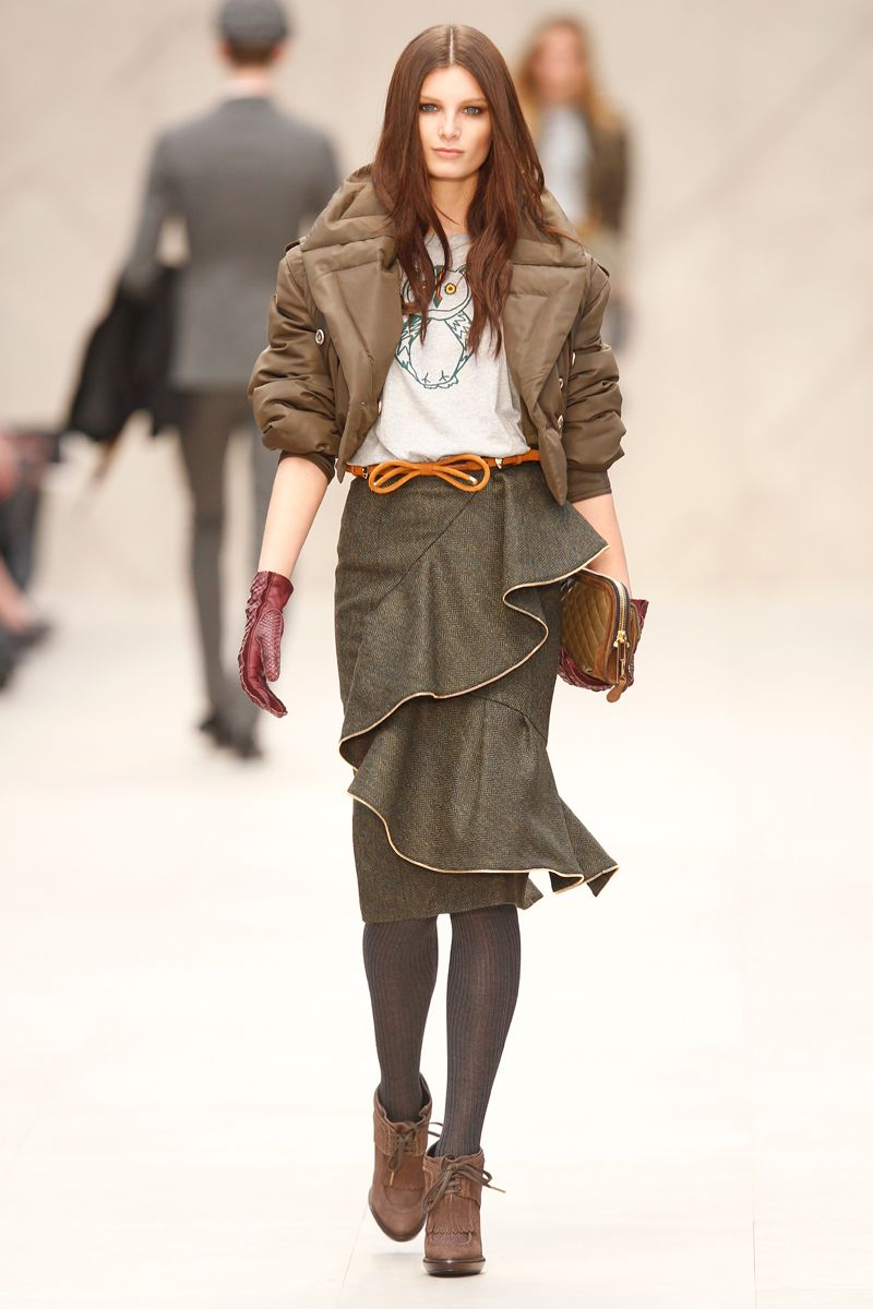 Burberry Prorsum Draped Tweed Skirt with Owl-Print Tee & silk bomber jacket. 212 872 2592
