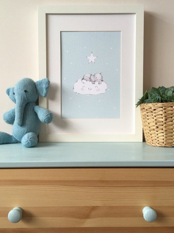 Baby elephant asleep on a happy cloud holding a little star. Printed on 250gsm white hammer embossed card. A4 in size and delivered unframed.