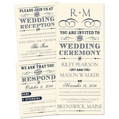 Presenting - Separate and Send Invitation Typography wedding - invitation wording for elopement party