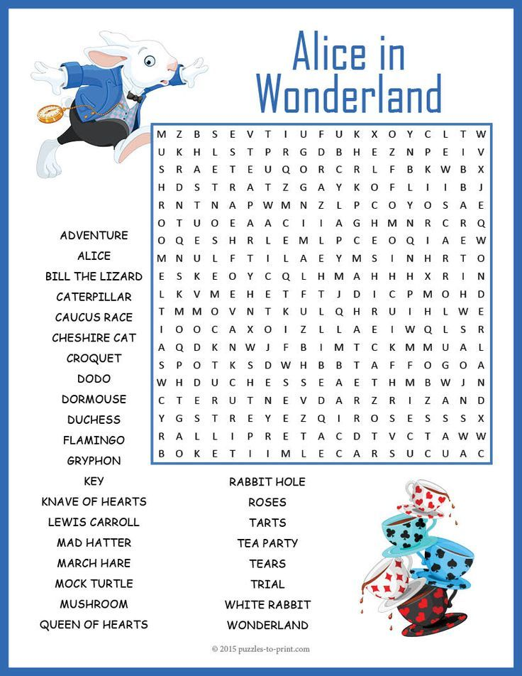 Alice in Wonderland Word Search | word search | Alice in wonderland ...