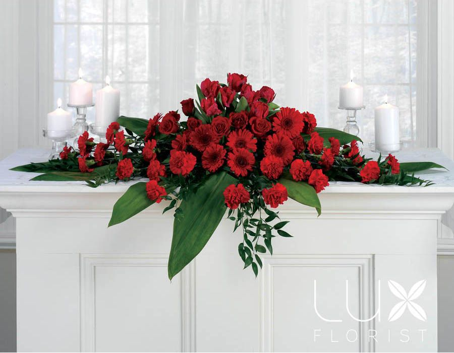 Large altar flower arrangements red roses find and save for Artificial flower decoration ideas