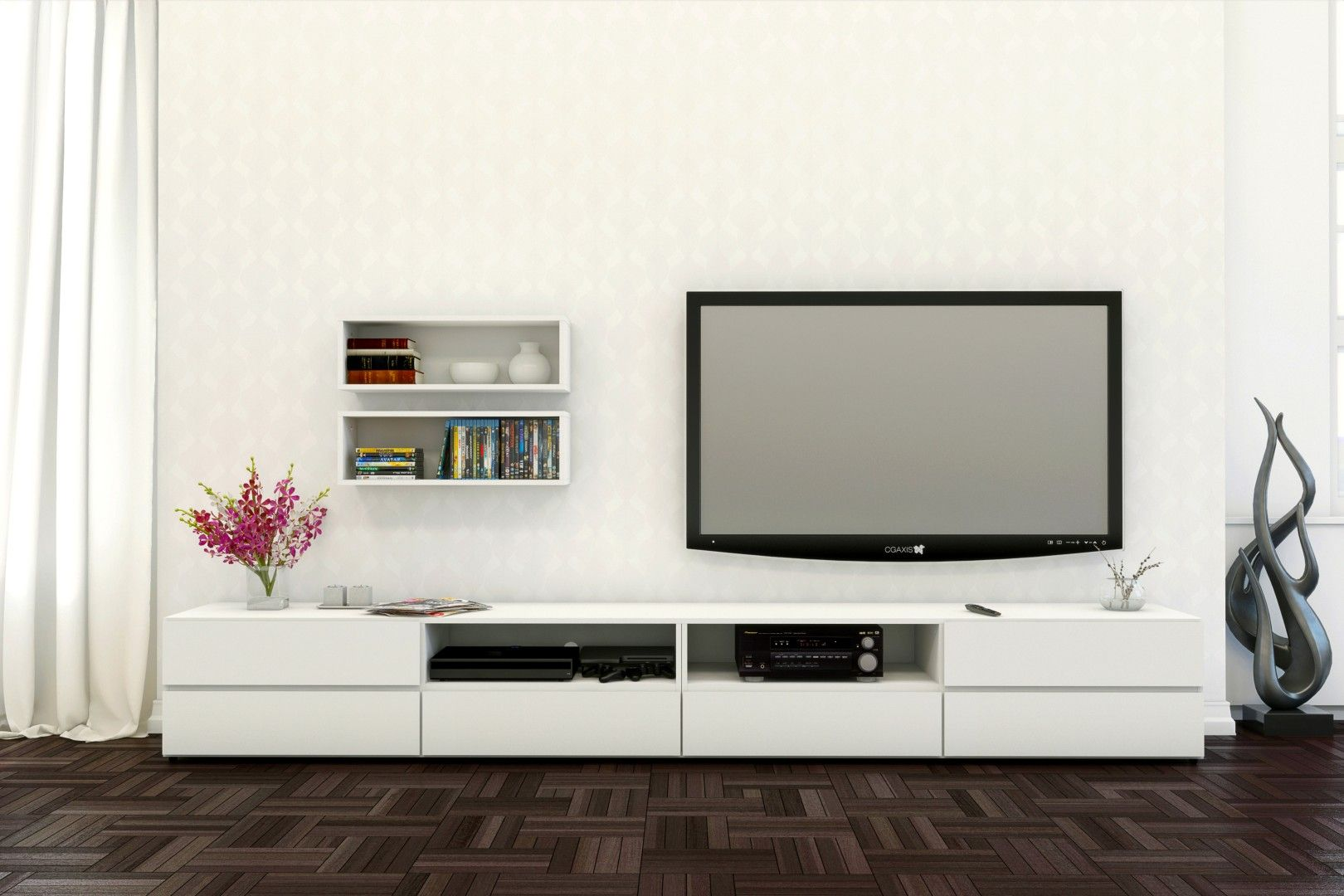 Contemporary Blvd TV stands with wall shelves, in white | Living ...