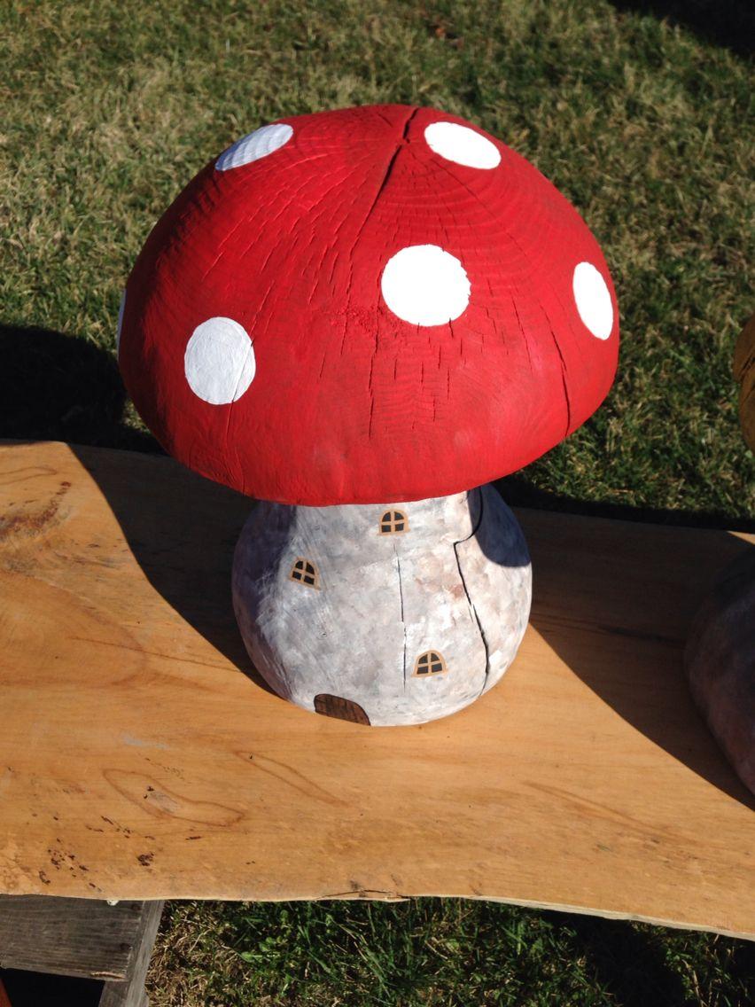 Carved wooden mushroom garden statue fairy garden chainsaw carving