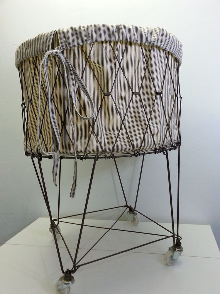 pottery barn french wire rolling laundry basket hamper storage with liner