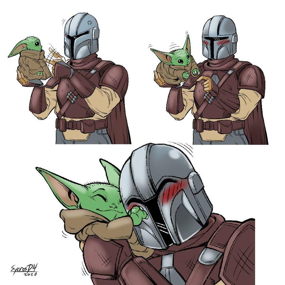 Baby Yoda E Mando Creditos Na Imagem Star Wars Memes Star Wars Humor Star Wars Fandom