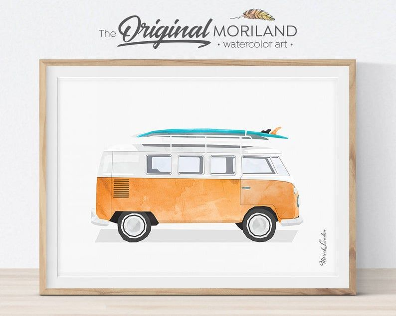 Van Print, Classic Car Art, Vintage Surf Printable, Girl Boy Room Wall Decor, Bus Decor, Surfboard, Transportation Decor, Vehicle Print