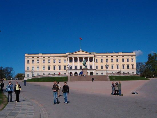 Royal Palace in Oslo, Norway. It's surprising just how close you can walk to this building, when compared to Buckingham Palace!