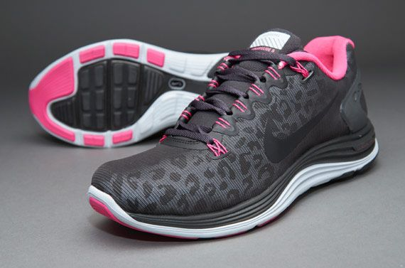 32131de5eccb8 Nike Womens Lunarglide +5 Shield - Womens Running Shoes - Dark  Charcoal-Black-Pink Foil-Dusty Grey