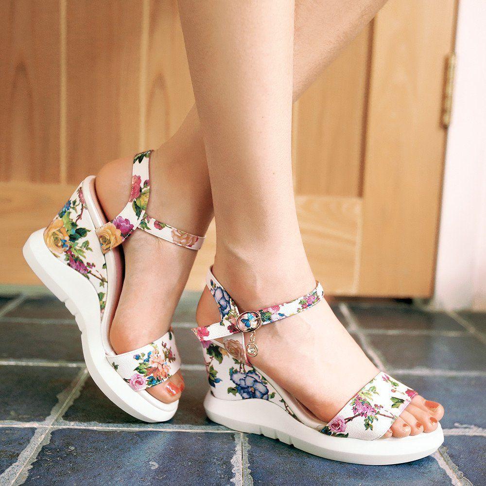 030ff856c9d6 Women Wedges Sandals Flower Printed Platform High-Heeled Shoes ~  41.00 at  shoeyl.com
